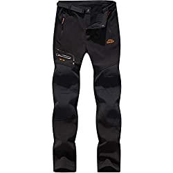 DENGBOSN Homme Pantalon Softshell Imperméable Pantalon Randonnée Thermique Étanche Coupe-Vent Hiver Automne Pantalon de Montagne Escalade Ski,KZ1602-Black1-L