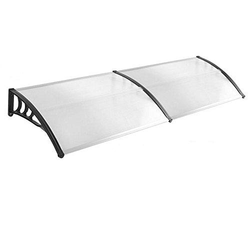 HENGMEI 90x200cm Vordach Haustür Überdachung Haustürvordach Pultvordach Türdach Regenschutz, Transparent Kunststoff, Schwarz