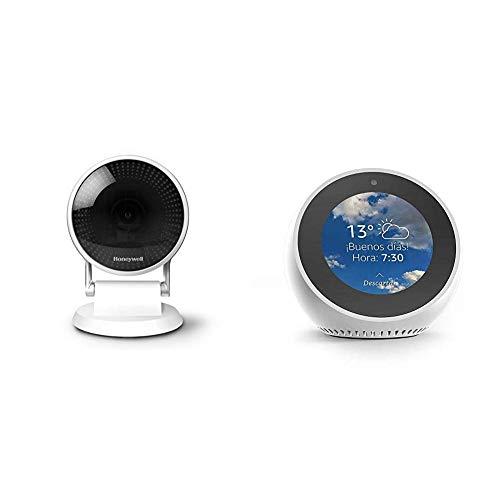 Echo Spot blanco + Cámara Seguridad Honeywell Wi-Fi C2, angular 145° en 1080p HD y visión nocturna