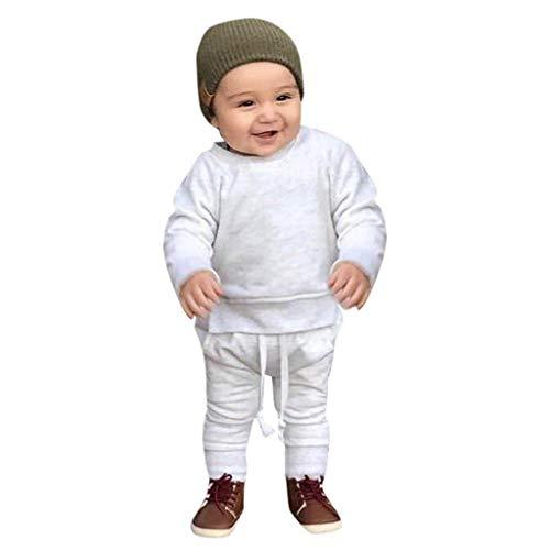 Realde Unisex Baby Mädchen Jungen Langarm Top + Lange Hosen Set Freizeit Einfarbigkind Infant Sport T-Shirt Oberteile Herbst und Winter Trainingsanzug Outfits Set Kleidung