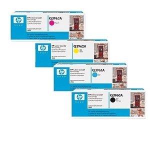4 X HP Toner 122A (Q3960A schwarz, Q3961A cyan, Q3962A gelb, Q3963A magenta) - Schwarz, Smart Druckkassette