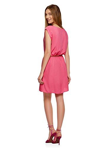 oodji Ultra Damen Viskose-Kleid mit Gürtel Rosa (4D00N)