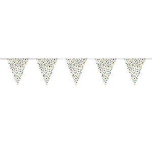 Bandera de fiesta, diseño de lunares de colores con texto en inglés