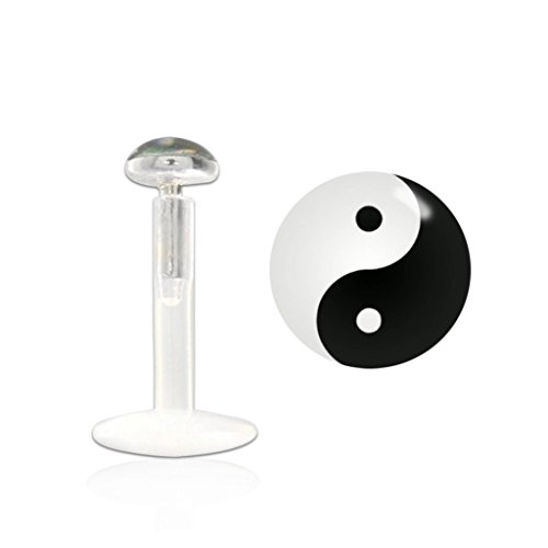 1,2 mm PTFE Tragus Piercing Yin Yang aus Kunststoff