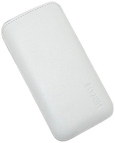 iPhone SE | Original Suncase Tasche Leder Etui Handytasche Ledertasche Schutzhülle Case Hülle *mit Rückzuglasche* cognac vollnarbig-weiss