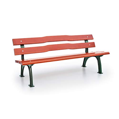 Parkbank mit Gussgestell - Sitz- und Rückenfläche Fichtenholz - geschwungen - Bank aus Holz, Metall, Kunststoff Gartenbank Holzbank Parkbank Ruhebank Sitzbank Bank aus Holz, Metall, Kunststoff Bänke aus Holz, Metall, Kunststoff