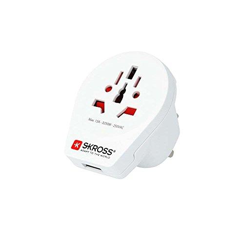 Skross 1.500261 Universal Tipo G (RU) Color Blanco Adaptador de Enchufe eléctrico - Adaptador para Enchufe