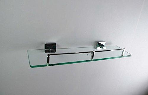 Sucastle Alliage de zinc couche unique verre table de toilette étagères salle de bain carré base Alliage de zinc Argent brillant QWERT