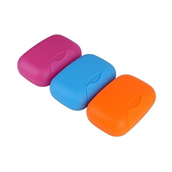 INOVERA (LABEL) Plastic Travel Soap Holder Organiser Box Case, Multicolour - 3 Pieces