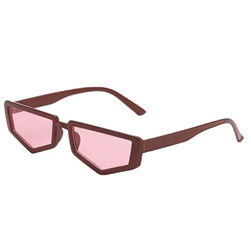 Hellery Retro Polygon Frame Sonnenbrille Shades Brand Design Brillen Damen Herren - Roter Rahmen