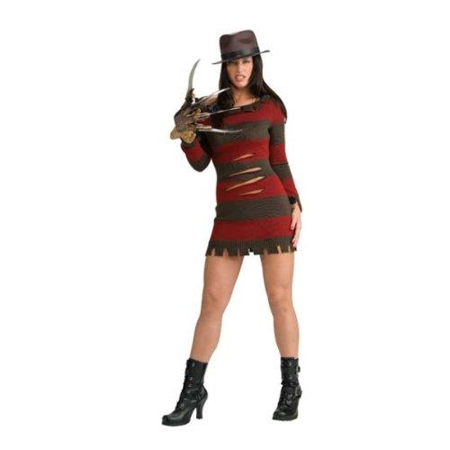 Freddy Krueger Lizenzkostüm Halloween-Damenkostüm braun-rot M ()