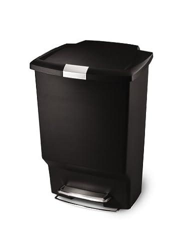 simplehuman Rectangular Step Trash Can, Black Plastic, 45L / 12 Gal