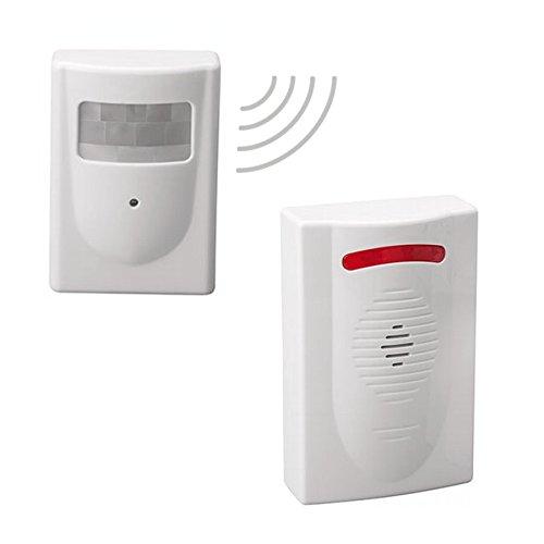 Funk Bewegungsmelder System als Alarmanlage. Mit 5 Alarmtönen und zwei wählbaren Lautstärken (Empfänger-system)