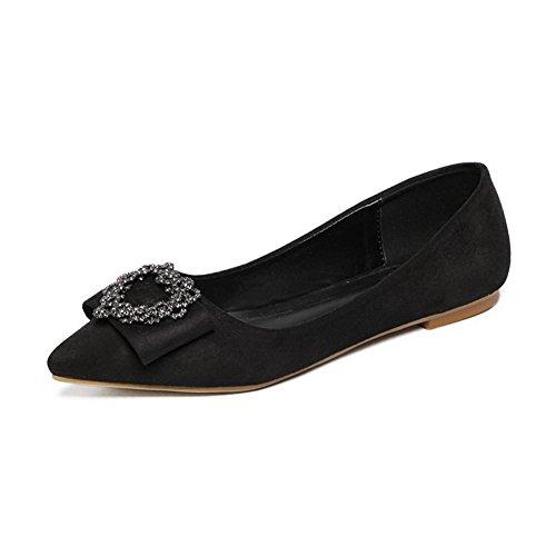 AalarDom Damen Spitz Zehe Ziehen Auf Blend-Materialien Pumps Schuhe Schwarz-Diamanten
