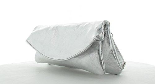 JSI Damen Handgelenktasche Schultertasche Abendtasche Leder 101017 Dunkelblau Silber
