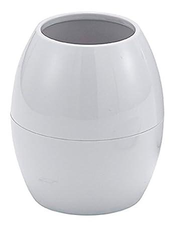 huevo- Blanc en plastique ABS 2Accessoire de Salle de Bain Gobelet, Distributeur, Poubelle à Couvercle Basculant, Chrome/White, Tumbler