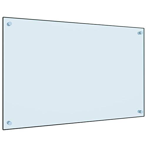 vidaXL Küchenrückwand Spritzschutz Fliesenspiegel Glasplatte Rückwand Herdspritzschutz Wandschutz Herd Küche Weiß 80x50cm Hartglas