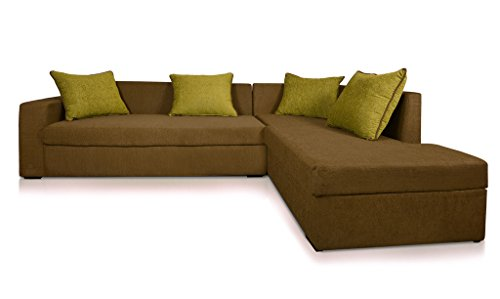 Beanbagwala CAIRO L-Shape-Left Fabric Sofa -Green-F-Green