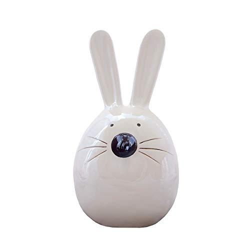 Spotted dog gift company coniglietto pasquale, salvadanaio coniglio ornamentale piggy bank ceramica 23cm color visone con finitura a bianco perlato regalo per ragazzi e ragazze adulti e bambini