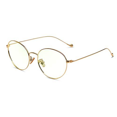 Blaulicht Schutzbrille Blaues Licht, das Gläser blockiert Anti-Strahlungsgläser-Trend-Vollbild-rundes Gesichts-Brillen-weibliches Flachglas ZHAOSHUNLI (Farbe : Gold)