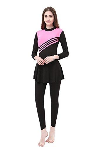 BOZEVON Damen Muslimischen Badeanzug Islamischen Full Cover Bescheidene Badebekleidung Swimwear Beachwear Burkini, Rosa, EU M=Tag L