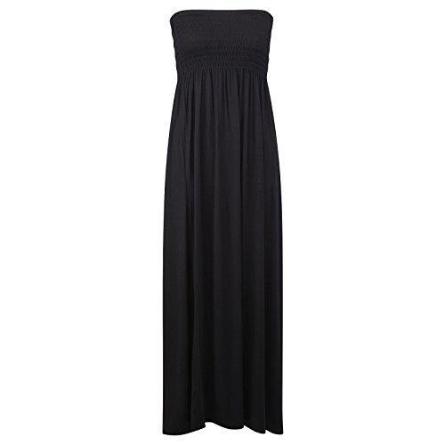 , Damen Taille Bandeau zweieinhalbfache Trägerlos Sommer Strand Maxi Kleid 8–22 Schwarz - Schwarz