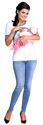 Zeta Ville - Top grossesse couches allaitement bords de contraste - femme - 965c White & Cyan