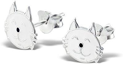 Pendientes Pequeño/Discreto Cabeza Gato Blanco Plata Esterlina (0.9cm x 0.8cm) Surtido en Caja de Regalo