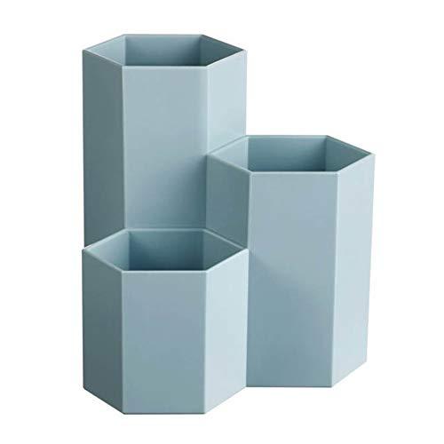 Make-up Pinselhalter Makeup Organizer Stifthalter Mehrzweck Kunststoff Stift Container Kreative Hexagon Vase Schreibtisch Dekoration (Color : Blau)