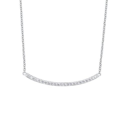 s.Oliver Damen-Kette mit Anhänger 42+3 cm 925 Silber rhodiniert Zirkonia weiß 45 cm 2015098