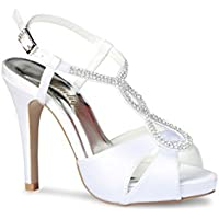 scarpa tacco tipo salomé alta due cinghie con strass in otto p