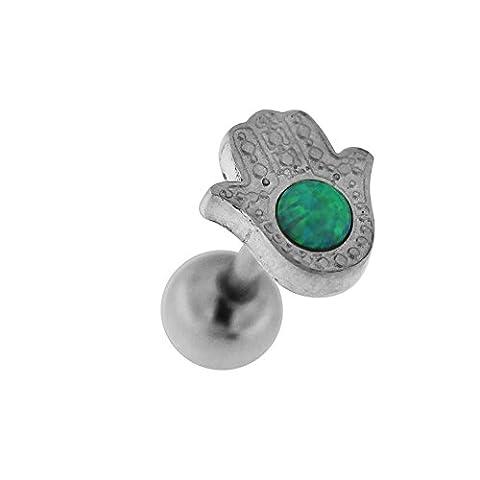 Piercing-Schmuck Grüner Opal Stein auf Hamsa oder Fatima Hand mit 316L chirurgischer Stahl Tragus, Helix, Knorpel Piercing Ohr Gestüt