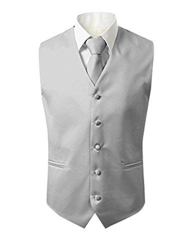 Judi Dench@ Herren 3 Stueck Weste NeckTie Tasche Square Set fuer Anzug oder Smoking, Groesse 4XL, Silber