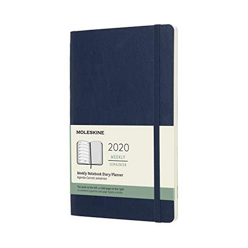 Moleskine 12 Mesi 2020 Agenda Settimanale, Copertina Morbida e Chiusura ad Elastico, Colore Blu Zaffiro, Dimensione Large 13 x 21 cm, 144 Pagine