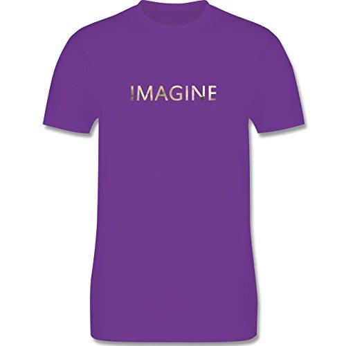 Vintage - Imagine Schriftzug Aquarell - Herren Premium T-Shirt Lila