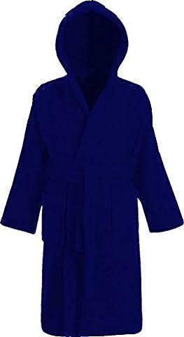 Peignoir à col châle à capuche en tissu éponge 100% Coton pour Enfants - ÂGE 10-11, Bleu royal