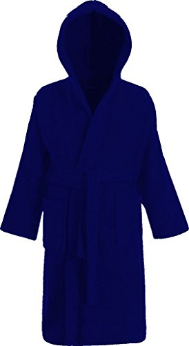 Kids 100% Cotton Terry Towelling Hooded Shawl Collar Bathrobe (AGE 4-5, Royal Blue)