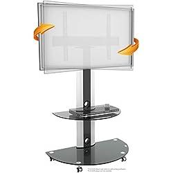 RICOO Meuble sur Pied TV roulettes Design FS0502 Support en Verre Colonne LED LCD Plasma QE OLED 3D 4K Smart Socle de Tele écran Original Meubles téléviseurs Rack VESA 600x400 Universel