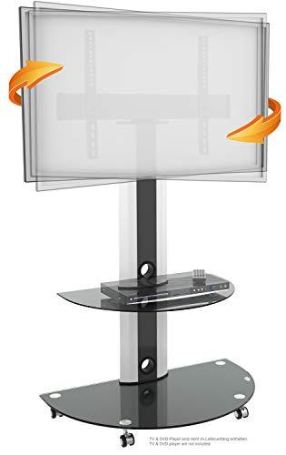 RICOO Fernsehständer für Flachbildschirme mit Rollen Universal FS0502 TV Ständer Drehbar Ablage DVD Receiver Glas Regal LCD Fernseher Standfuss Fernseh Möbel Standfuß Halterung VESA 600x400