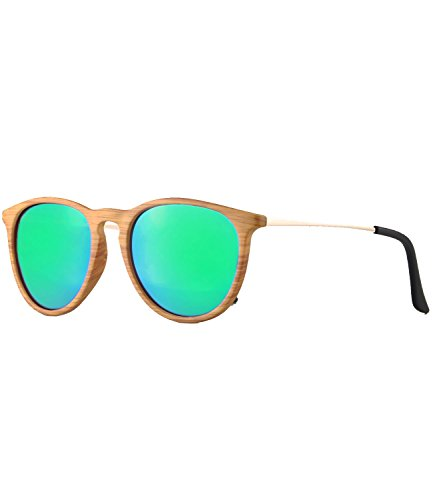 caripe Retro Sonnenbrille Damen Herren Hornbrille Vintage Brille verspiegelt + getönt - 139 (big - Holzoptik natur - bluegreen verspiegelt-s691W)
