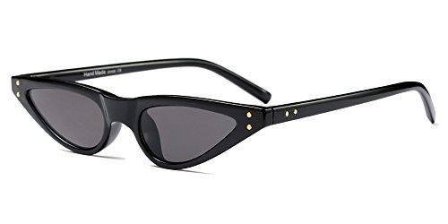 BOZEVON Damen Mode UV Brillen Cool Retro Klassisch Dreieck Sonnenbrille, Schwarz/Grau