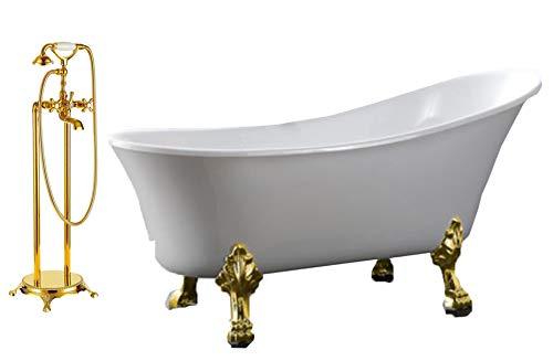 Freistehende Badewanne PARIS Acryl weiß BS-830 176 x 71 cm - Metallfüße wählbar, Farbe der Füße:gold, Standarmatur:Inkl. Standarmatur 1414 Gold (Freistehend Badewanne)