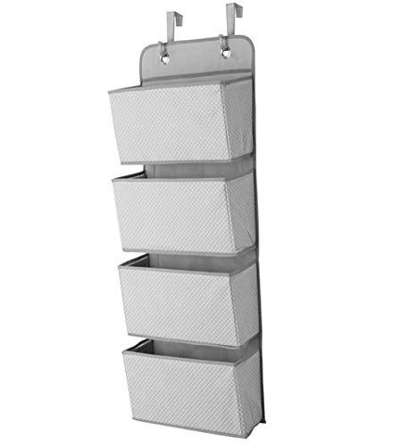 Hängende Handtasche Organizer (Tebery Hängeschrank Organizer mit 4 Taschen, Stoffwandhalterung/Tür-Aufbewahrung für Spielzeug, Geldbörsen und Handtücher, Grau)