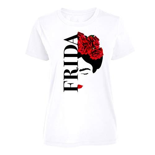 Frida Kahlo - Silueta - Camiseta Oficial Mujer - Blanco, L