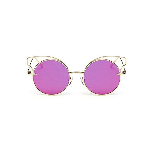 Frauen Katzenaugen Sonnenbrille Marke Design Sonnenbrille Runde Legierung Rahmen Sonnenbrillen UV400 Schutz (Purple)
