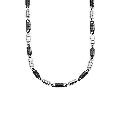 s.Oliver Herren-Halsschmuck Edelstahl bicolor IP schwarz matt/glänzend 50 cm