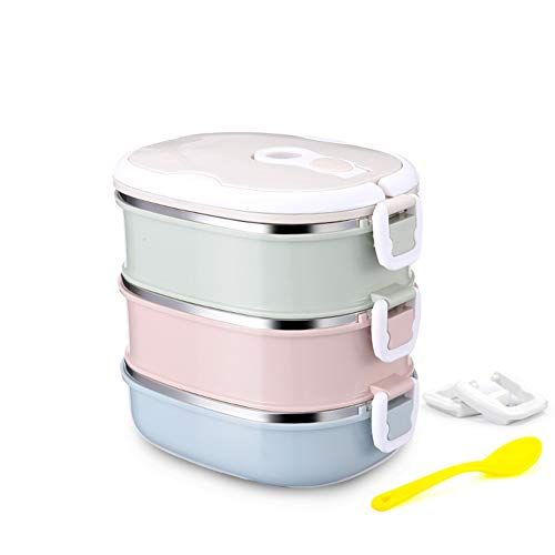 Elegante Thermo-Isolierung, Lunchbox, Lebensmittelbehälter, Bento Box, auslaufsicher, 304 Edelstahl, mehrlagig, tragbar, Candy Farben Three layers mehrfarbig Layer Thermo