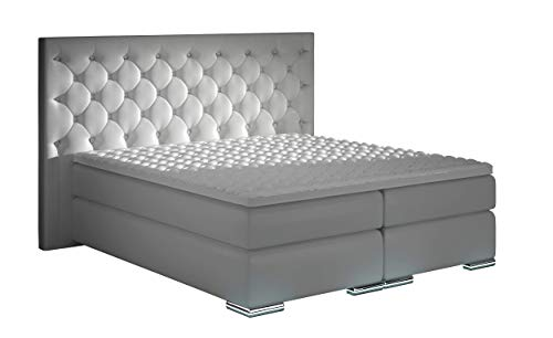 XXXL Royal Boxspringbett Designer Boxspring Bett LED Chesterfield Schwarz Maße 1,80 m x 2,00 m