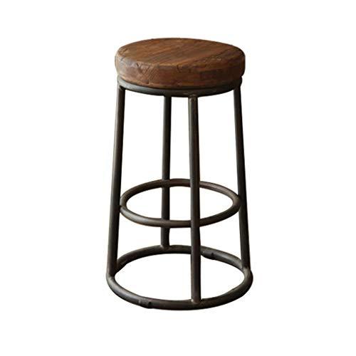 ZLL Sitz Stuhl-Bar Stuhl rund 5 cm Dicke Stuhl Oberfläche Massivholz Barstuhl Retro Machen Sie den Alten Eisen Barhocker Kaffee Stuhl Rezeption Stühle Bar Restaurant Barhocker - Schwamm + Kunstlede - Eisen Barhocker