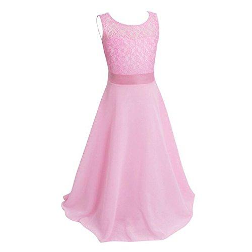 Free Fisher Mädchen Abendkleid Spitzenkleid Ärmellos, Pink, Gr.116( Herstellergröße: 120)